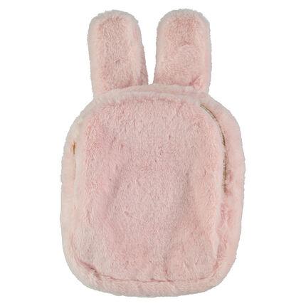 Bolsa de merienda de pelo falso con forma de conejo