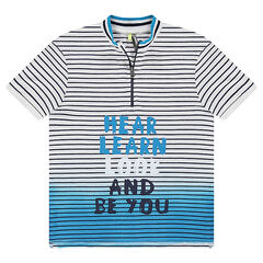 Júnior - Polo de manga corta de punto con efecto tie and dye y cuello con cremallera