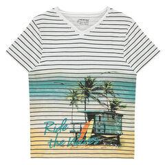 Júnior - Camiseta de manga corta de jersey de rayas con paisaje estampado