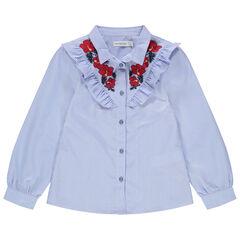 camisa de rayas verticales y Flores bordadas