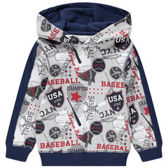Sudadera de felpa con capucha y estampado de baseball all over