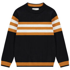 Pull en tricot à rayures contrastées en jacquard pour enfant garçon , Orchestra