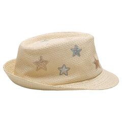 Borsalino de efecto de paja con estrellas bordadas