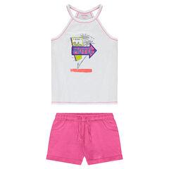 Júnior - Conjunto de camiseta estampada y pantalón corto rosa