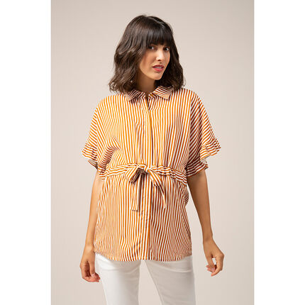 Camisa de manga corta de prememá con rayas verticales all over