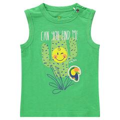 Camiseta de algodón liso con cactus y ©Smiley estampados