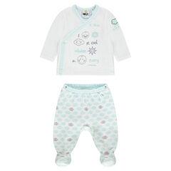 Pijama de terciopelo estampado ©Smiley Baby