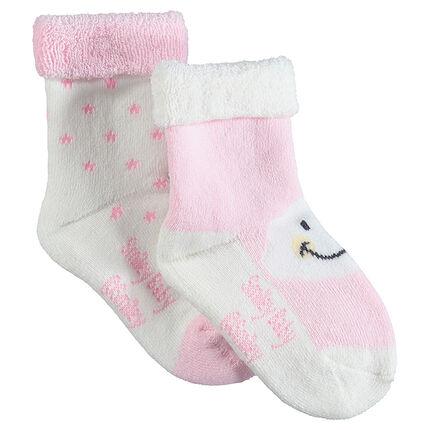 Pack de 2 pares de calcetines de rizo con motivo ©Smiley