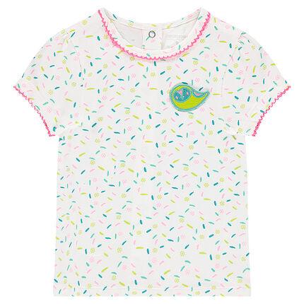 Camiseta de manga corta de punto con estampado all over y bordados