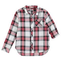 Júnior - Camisa de manga larga de grandes cuadros en contraste con bolsillo