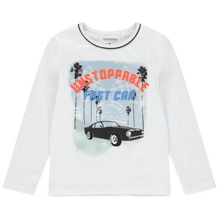 Camiseta de manga larga de punto con estampado de coche