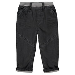 Jeans de corte recto efecto crinkle con forro de micropolar