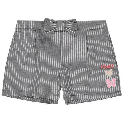 Pantalón corto de rayas verticales y bordados de Minnie Disney
