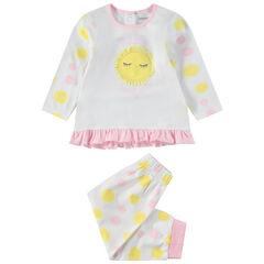 Pijama de punto con lunares y sol cosido por delante