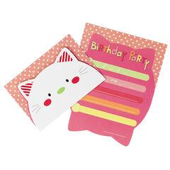 Juego de 10 tarjetas de invitación de cumpleaños con dibujo de gato
