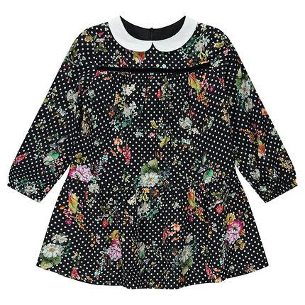 Vestido de manga larga de raso de algodón con lunares y flores all-over