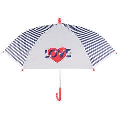 Paraguas con rayas y corazones estampados
