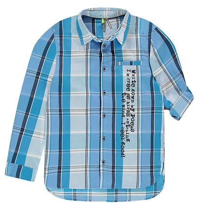 Júnior - Camisa de manga larga a cuadros y texto estampado