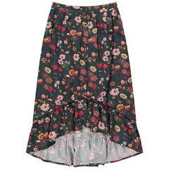 Falda larga asimétrica con flores all over