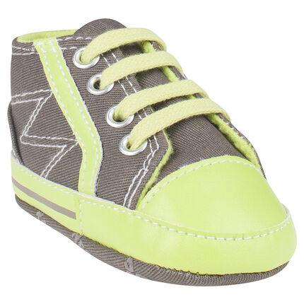 Zapatillas de deporte de caña alta de tela bicolor