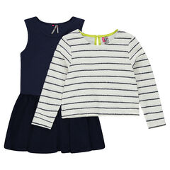 Conjunto de vestido con voalntes sin mangas y jersey de punto de rayas
