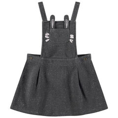 Vestido tipo peto de punto ligero mezclado con hilo plateado y bolsillo con forma de conejo