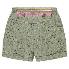 Pantalón corto con bordados ingleses, cenefa de estilo étnico y pompones