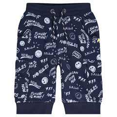 Bermudas de felpa con slub con ©Smiley estampado all over