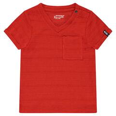 Camiseta de manga corta de punto slub con bolsillo