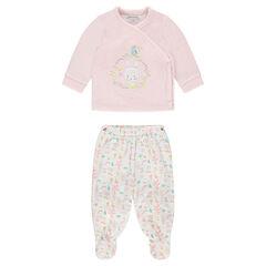 Pijama de terciopelo con conejo bordado y bajos estampados all over