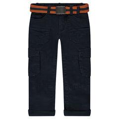 Pantalón cargo con forro de punto y cinturón extraíble