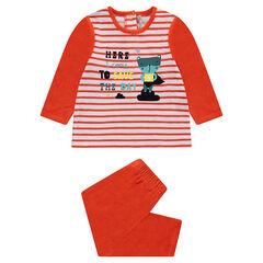 Pijama de terciopelo con rayas y animal estampado
