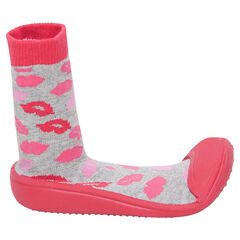 Calcetines zapatillas con estampado de bocas y la suela de goma