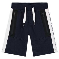 Bermudas de felpa con bolsillos con cremallera