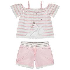 Conjunto con top de rayas print cisne y pantalon corto rosa , Pomme Framboise