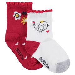 Juego de 2 pares de calcetines variados con flores y pájaro de jacquard