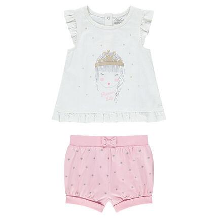 Conjunto con camiseta con estampado de princesa y pantalón corto con estrellas estampadas