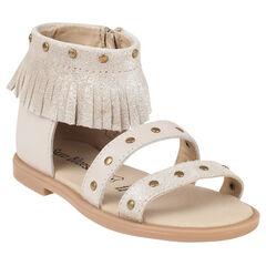 Zapatos descubiertos de cuero beige con purpurina con flecos