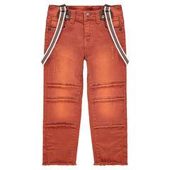 Pantalón teñido con tirantes desmontables