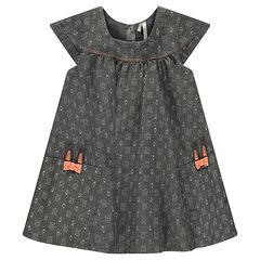 Vestido de manga corta de cambray con conejos estampados all over