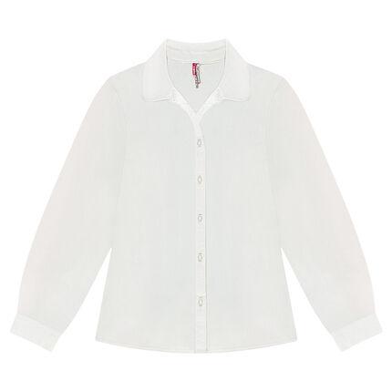 Camisa de manga larga lisa de algodón