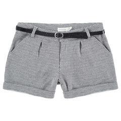 Júnior - Pantalón corto con micro pata de gallo y cinturón brillante