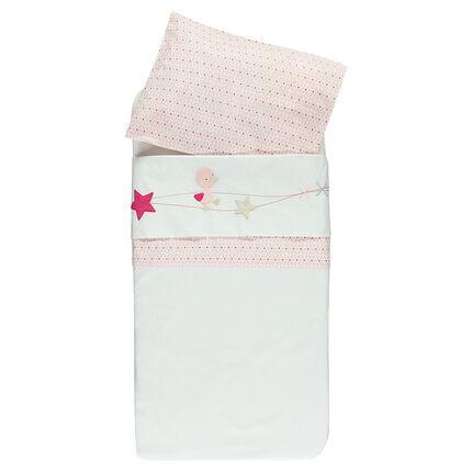 Lote de sábana y funda para almohada con bordados estampado fantasía