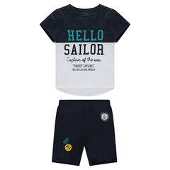 Júnior - Conjunto de camiseta de manga corta estampada y bermudas de felpa.
