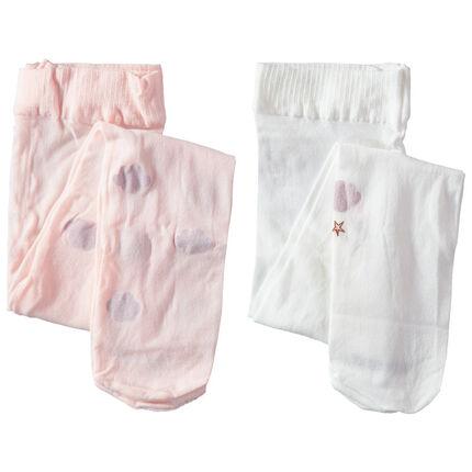 Juego de 2 medias finas con dibujos de fantasía rosa claro/blanco