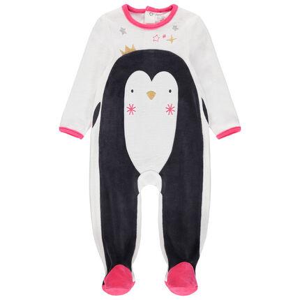 Dors-bien en velours motif pingouin esprit Noël