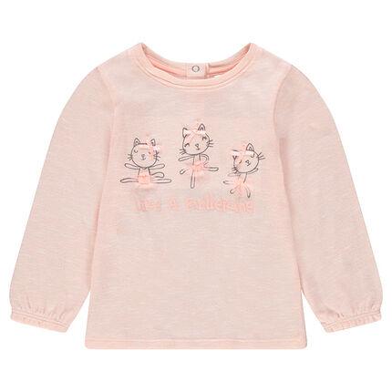 Camiseta de manga larga de punto fino con gatos estampados y lazos