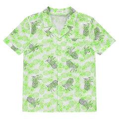 Júnior - Camisa de manga corta con piñas estampadas
