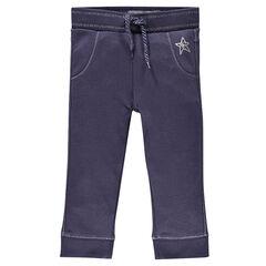 Pantalón tres cuartos chándal de felpa con estampado de estrella