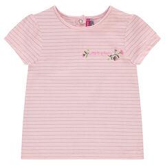 Camiseta de manga corta de rayas finas doradas y con bordados